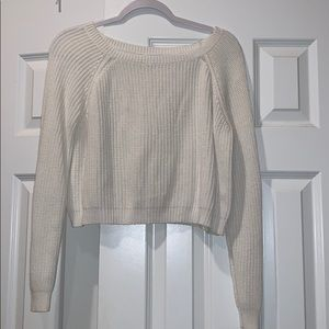 White BP cropped sweater